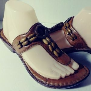 Born Thong Sandals Brown Leather Beaded Boho Shoes